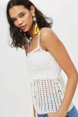 Topshop Crochet Tie Waist Vest | strappy knitted tops