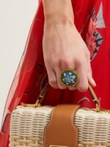 DOLCE & GABBANA Crystal-embellished floral ring ~ painted statement jewellery