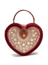 DOLCE & GABBANA Crystal-embellished heart-shaped bag ~ beautiful Italian handbags ~ hearts & crystals