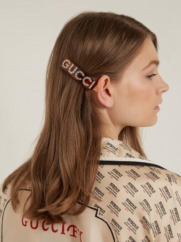 GUCCI Crystal-embellished logo hair clip / designer logo hair accessory