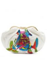 KILOMETRE PARIS Cuba embroidered linen clutch ~ large beaded clutch bags ~ colourful birds