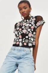 TOPSHOP 3D Cluster Embellished T-Shirt / semi sheer floral tee