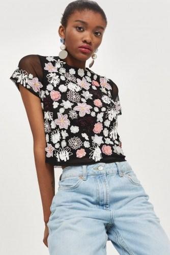 TOPSHOP 3D Cluster Embellished T-Shirt / semi sheer floral tee - flipped
