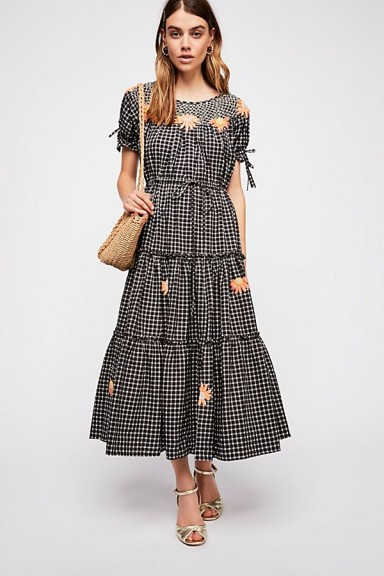 Innika Choo Daisy Smock Collar Dress / black gingham boho dresses