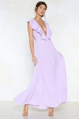 Nasty Gal Deep It Moving Maxi Dress – lilac plunging front and back dresses