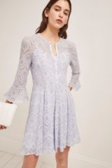 FRENCH CONNECTION DERNA DRAPE FLUTED DRESS SEA BREEZE / broderie Anglaise dresses