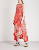 DIANE VON FURSTENBERG Asymmetric floral-print crepe midi dress avalon poppy ~ long red sleeveless dresses