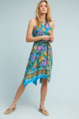 Lilka Dinan Halter Dress | blue floral handkerchief hem dresses | summer halternecks