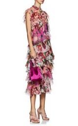 DOLCE & GABBANA Peony-Print Silk Chiffon Dress ~ layered ruffle dresses ~ gorgeous Italian clothing
