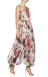 DOLCE & GABBANA Peony-Print Silk Jumpsuit ~ harem-style jumpsuit ~ feminine Italian clothing