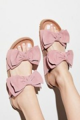 Jeffrey Campbell Double Knot Footbed BLUSH SUEDE | pink bow flats