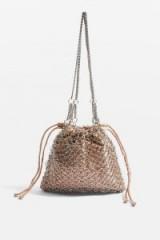 Topshop Drawstring Shoulder Bag | pink and silver chain bags