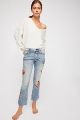 Driftwood Roxy Crop Flare Jeans / floral embroidered denim flares