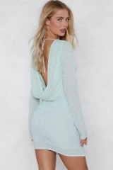 Nasty Gal Drop Back Beaded Dress – mint green embellished cowl back party dresses