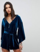 ebonie n ivory Luxe Tie Waist Playsuit with Kimono Sleeves In Velvet – affordable luxe