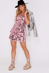 IN THE STYLE ELENEE PINK SEQUIN STRAPPY MINI DRESS ~ bling dresses ~ festival fashion