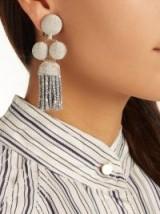 REBECCA DE RAVENEL Elle drop clip-on earrings ~ metallic-silver statement jewellery