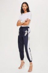 Topshop Embellished Striped Joggers   sports luxe trousers