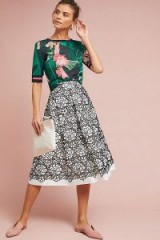 Eliza J Embla Lace Overlay Skirt | black and white floral skirts