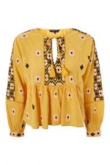 TOPSHOP Embroidered Smock Blouse / yellow floral boho tops