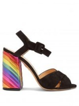 CHARLOTTE OLYMPIA Emma rainbow suede sandals ~ striped multicoloured chunky heels