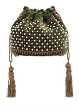 ETRO FAUX PEARL EMBELLISHED GREEN VELVET POUCH / small drawstring bags
