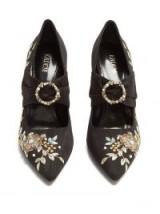 ERDEM Fabiola point-toe embroidered moire pumps ~ vintage style shoes