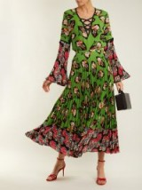 ANDREW GN Fan-print pleated silk skirt ~ full green printed skirts