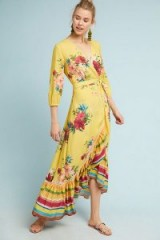 ANTHROPOLOGIE | Farm Rio Marketplace Wrap Dress / yellow floral frill hem dresses
