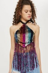 TOPSHOP Festival Rainbow Sequin Halter Neck Top ~ multicolored sequins