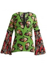 ANDREW GN Flared-sleeve fan-print silk top ~ green pleated sleeved tops