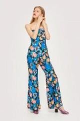 TOPSHOP Floral Bandeau Jumpsuit / strapless wide leg jumpsuits