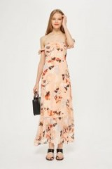 YAS Peach Floral Bardot Maxi Dress | long off the shoulder dresses | summer style