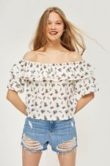 TOPSHOP Floral Bardot Top / frilled off the shoulder tops / boho summer