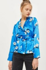 TOPSHOP Floral Belted Pyjama Shirt / blue silky shirts