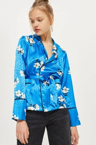 TOPSHOP Floral Belted Pyjama Shirt / blue silky shirts - flipped