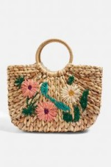 Topshop Floral Embroidered Straw Tote Bag | pretty summer bags