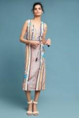5x By Ajit Kumar Floral Embroidered Striped Midi Dress / flower applique dresses