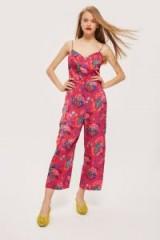 TOPSHOP Floral Jumpsuit / strappy crop leg jumpsuits