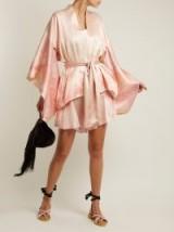 HILLIER BARTLEY Floral-print silk kimono jacket ~ pink silky oriental style jackets