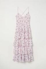 H&M Flounced dress / pink tiered floral print dresses