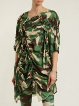 JUNYA WATANABE Gathered-detail camouflage-print woven dress / ruched camo dresses