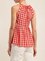 REDVALENTINO Gingham cotton top ~ red and white checked tie back tops