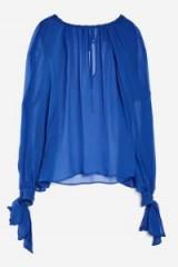 Topshop Gospel Blouse by Boutique | cobalt blue silk sheer blouses