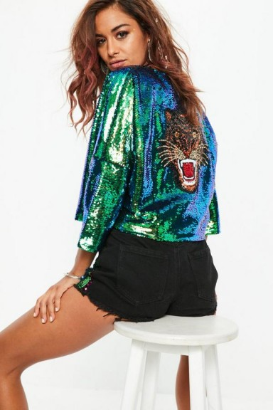 Missguided green sequin tiger jacket – glamorous sequined jackets