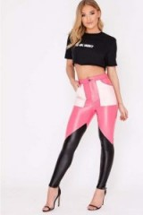 IN THE STYLE HADAR PINK COLOUR BLOCK FAUX LEATHER TROUSERS ~ skinny pants