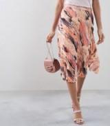 REISS HARRIET BLUR-PRINT PLEATED SKIRT ~ coral and grey abstract printed midi skirts ~ feminine pleats