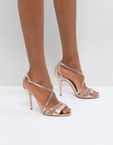 Head Over Heels by Dune Rose Gold Metallic Heeled Sandals ~ strappy going out shoes