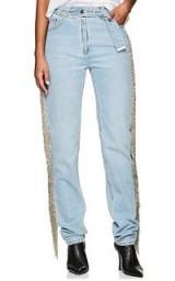 HELMUT LANG Fringed Straight Jeans ~ side fringe denim