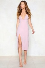 Nasty Gal High Esteem Midi Dress – strappy lavender plunging dresses